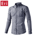 2017 Men's Plaid Shirts Cotton Casual Shirts Male High Quality Long Sleeve Slim Fit Business Casual Shirt US Size S M L XL X436