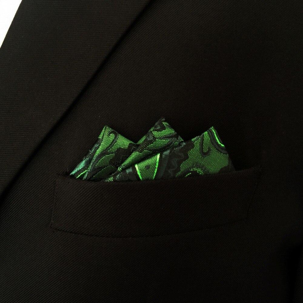 Paisley Green Batistă neagră Buzunar Mătase pătrată Mătase - Accesorii pentru haine - Fotografie 4