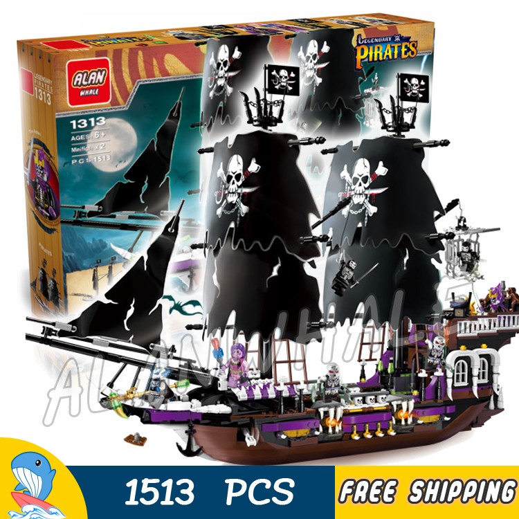 1513pcs Pirates of the Caribbean Black Pearl General Dark Ship 1313 Model Building Blocks Children Boy Toys Compatible With lego kazi 1184pcs pirates of the caribbean black general black pearl ship model building blocks toys compatible with lepin