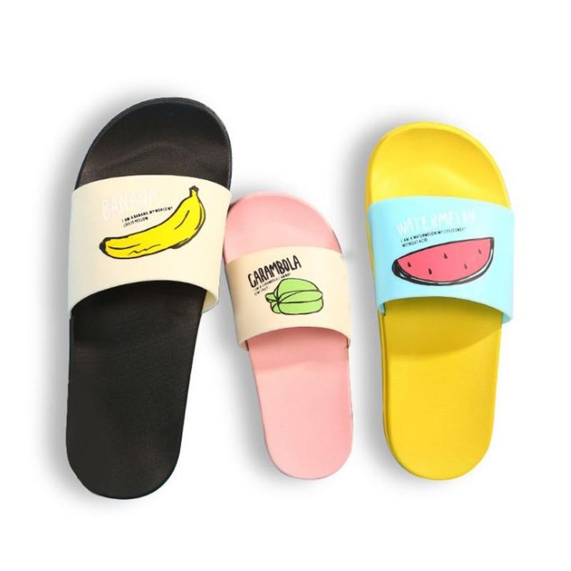 KLV nueva moda encantadora fruta ocasional playa prevenir resbaladizas zapatillas padre-hijo