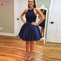 Dark blue Short homecoming dresses Halter Prom Party dress Beading Backless High quality Graduation Dress  Homecoming Gown Z265