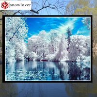 Snowlover Needlework Embroidery DIY Landscape Painting Cross Stitch Kits 14ct Snow Home Cross Stitch Sets For