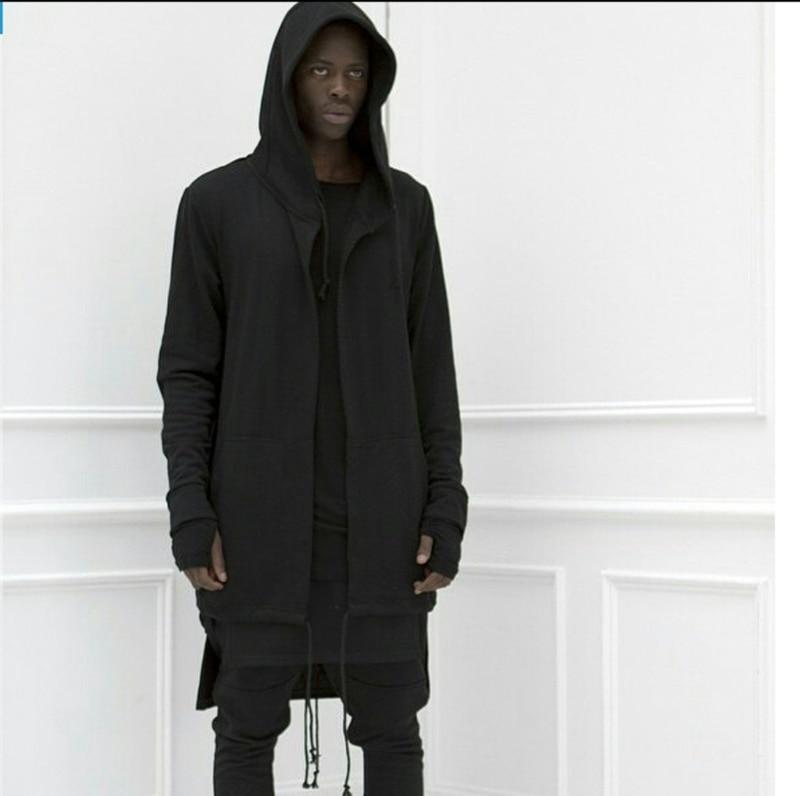 New High Street Hoody Cloak Hooded Sweatshirts With Black Gown Hip Hop Mantle Hoodies Jackets Mens Black White Long Hoodies