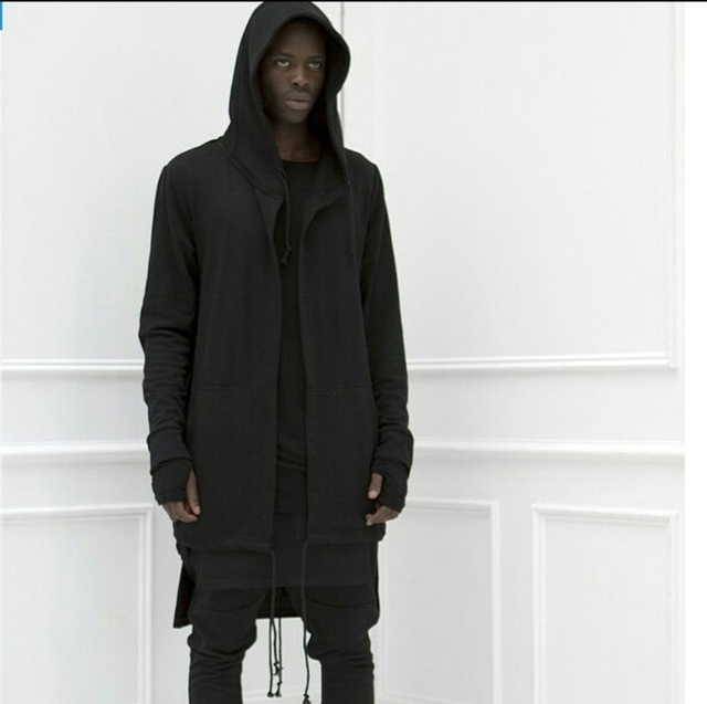 Titmsny High Street с капюшоном плащ толстовки с капюшоном с черное платье хип-хоп мантии толстовки куртки мужские черный, белый цвет длинные толстовки