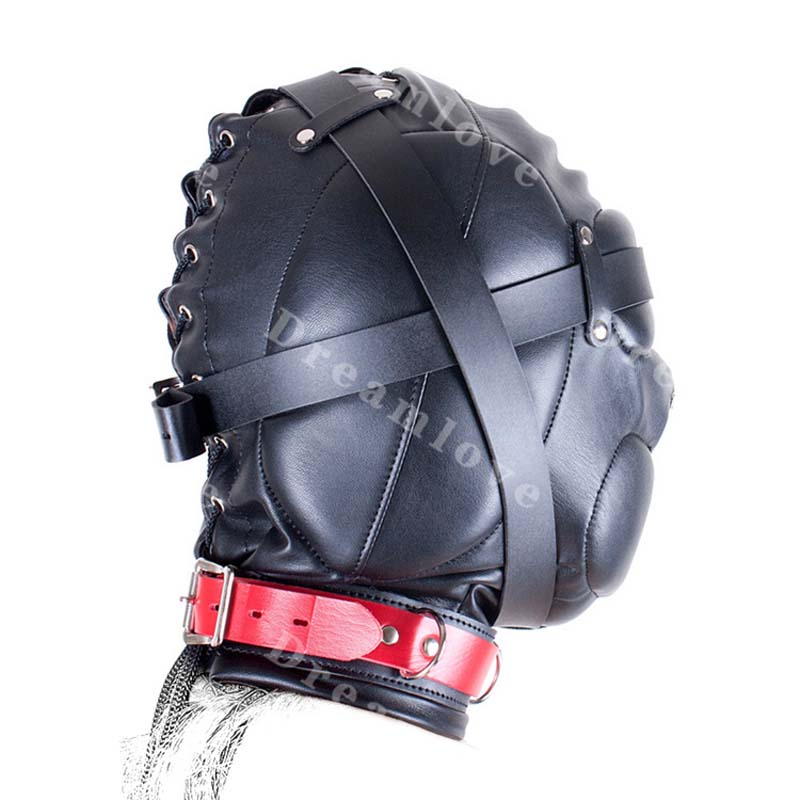 Image 2 - Kinky Soft Padded Leather Locking Role Play Sensory Deprivation Hood Head  Enclosure Mask Fetish Costume-in Sexy Costumes from Novelty & Special Use