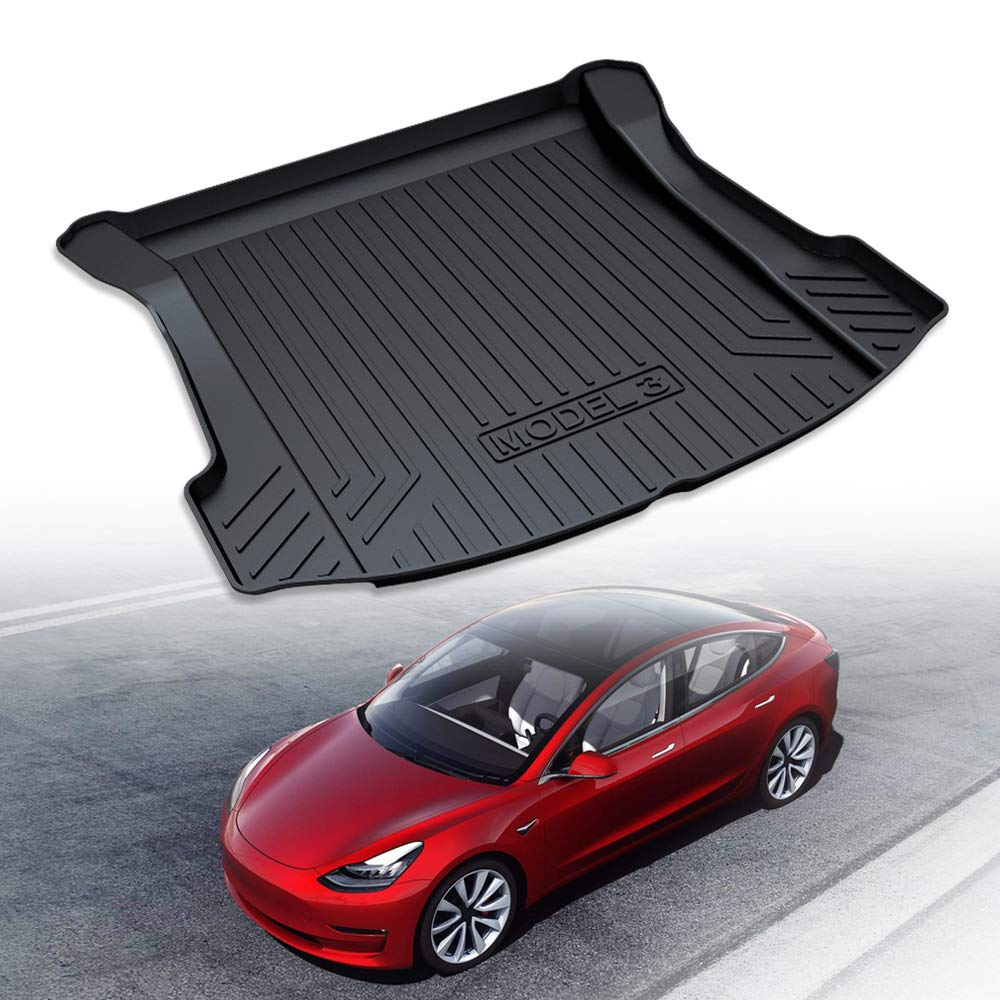 LUCKEASY TPE Material All-Weather Car Trunk Floor Mat Cargo Liner Rear Cargo Tray Black Protector for Tesla Model 3 2017 2018 2019 Complete Set Custom Fit /…