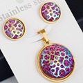 Stainless steel New Arrival Classic Jewelry Set gold plating  coin Round Circle Earring/Necklace Set HOT sale