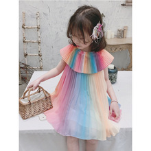 Kaguster 2019 Rainbow dress girl Kids dresses for girls clothes frock designs promotion Floral tutu Casual lol summer