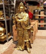 free 39″ Chinese Brass Copper Dragon Sword Warrior Guan Gong Guan Yu Buddha God Statue fast
