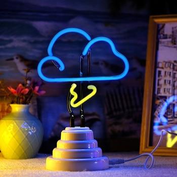 Nuevo letrero de neón, lámpara LED de noche, lámpara de mesa con flamenco, nube, arcoiris, piña, decoración para fiesta de Navidad, decoración en 3D para el hogar