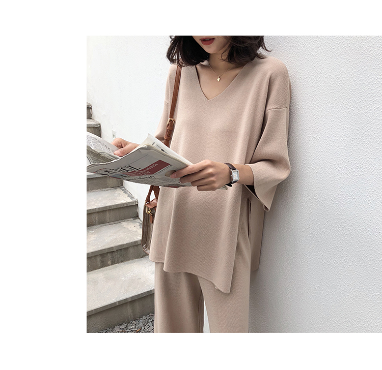 Knitting Female Sweater Pantsuit For Women Two Piece Set Knitted Pullover V-neck Long Sleeve Bandage Top Wide Leg Pants  Suit 25