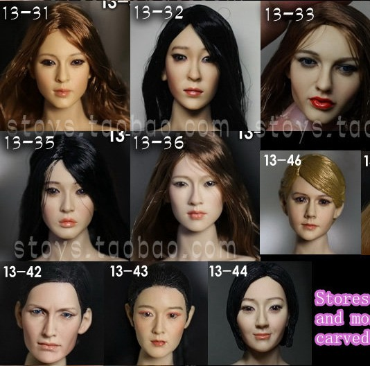 1/6 scale female head shape for 12 action figure doll accessories doll head carved not include the body,clothes and other 13-42 1 6 figure doll head shape for 12 action figure doll accessories game of death bruce lee head carved not include body clothes