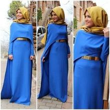 Blue Kaftan Long Sleeves Muslim Dress Evening wear with Metal Sash Straight Long Evening Dress with