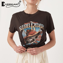 Everkaki Rebel Rider Print T-shirt Women Boho Top Cotton Black Vintage Summer Bohemian Tops Female 2019 Spring New
