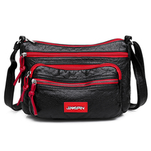 Contrast color Hobos Washed PU Leather Messenger Bag Contracted Joker Soft Crossbody for Women Solid Rural style Leisure