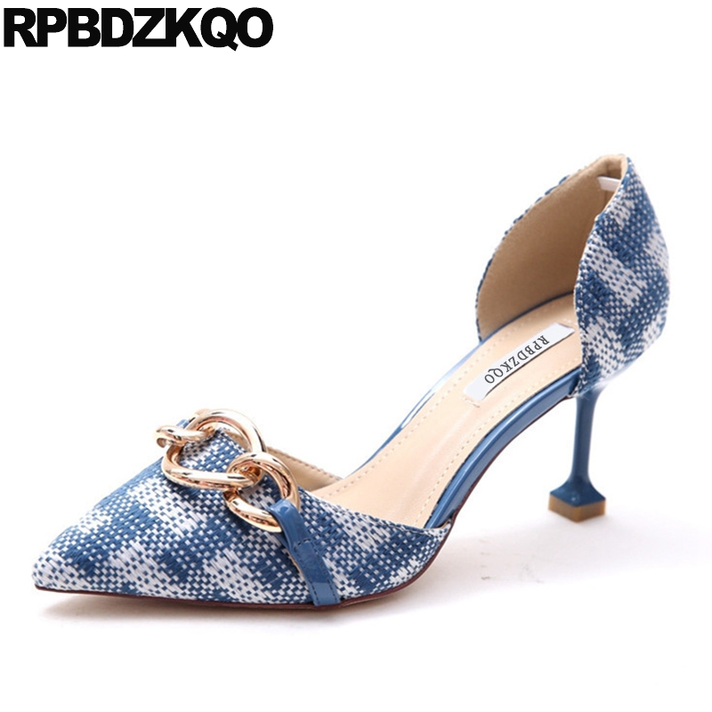 High Heels 2017 Women Thin 3 Inch Metal D'orsay Size 4 34 Strange Chain Pointed Toe Quality Designer Shoes Multi Colored Pumps small size high heels sexy pumps 33 4 34 thin abnormal 2017 big 12 44 multi colored leopard shoes women pointed toe evening
