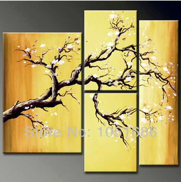 Large 4 Piece Hand Painted Modern Blossom White Cherry Flowers Oil ...