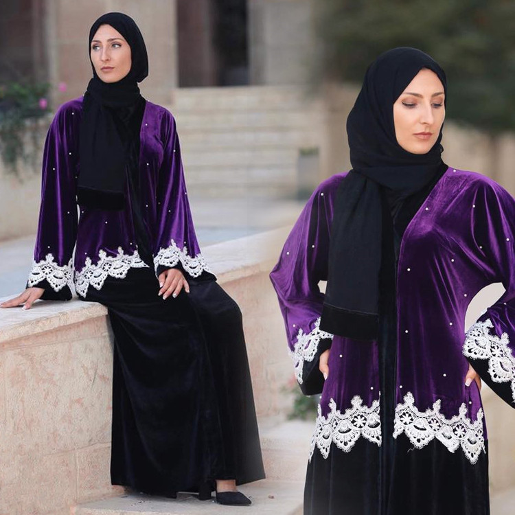 MZ Garment Muslims Women Lace Tassel Robes Islamic Abaya Maxi Long Dress Ladies Islamic Cardigan LR88