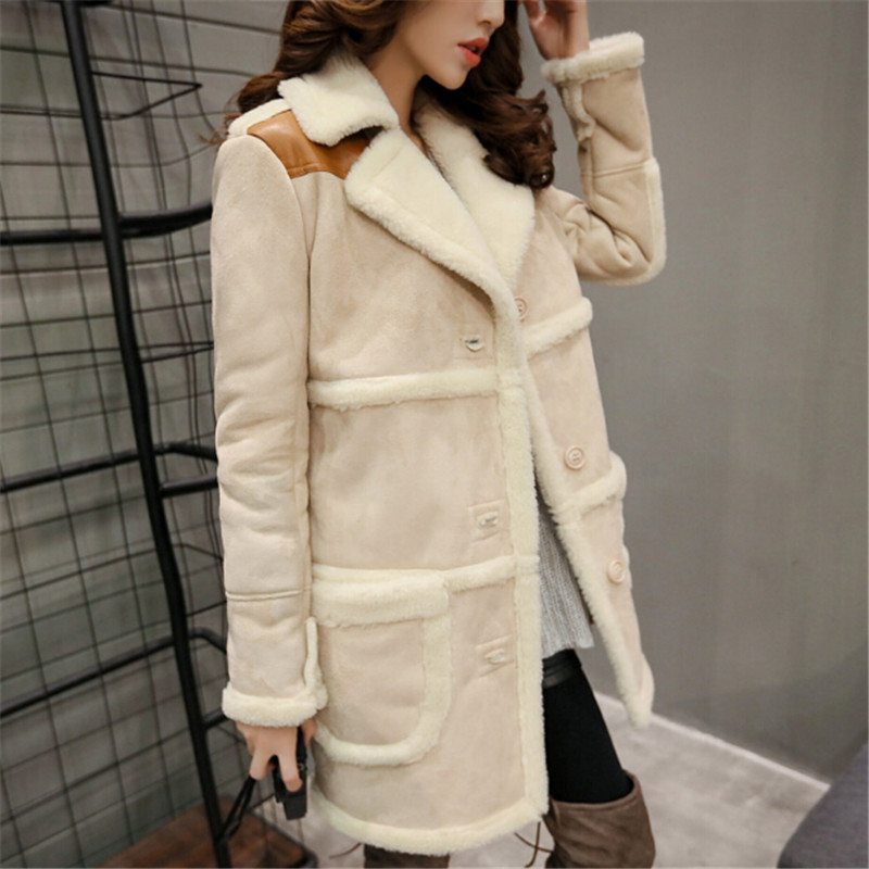 2018 Winter Women Long   Suede   Jacket Lapel Warm Patchwork Coats Women Lamb Wool Motorcycle Parka
