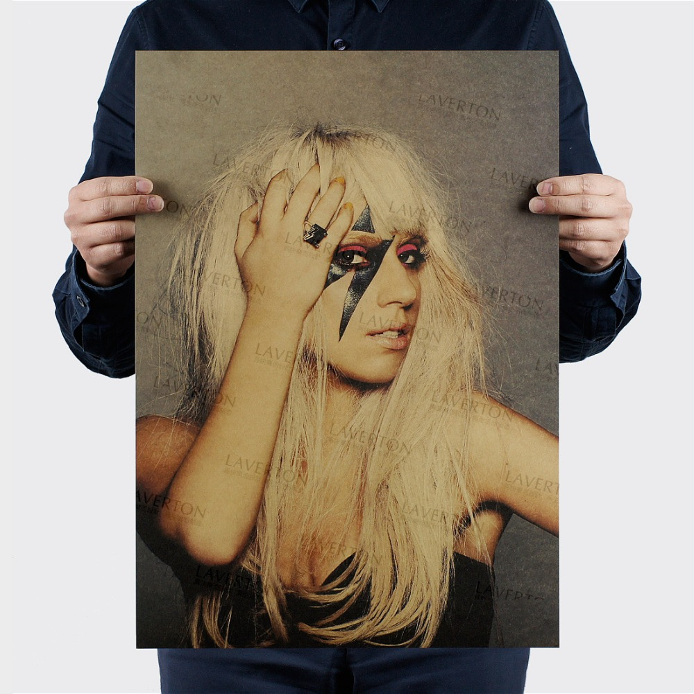Lady Gaga B style/singer /Famous star sexy beauty /kraft paper/Wall stickers/Retro bar Poster/decorative painting 51x35.5cm