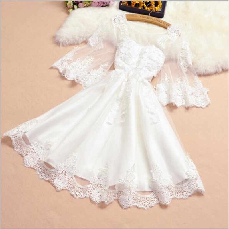2019 New Women's Sweet Lace Mini A-line Fashion White Black Grey Sexy Dresses Party Night Club Dress N48