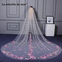 Color veil new wedding lace long bridal wedding veil 3M moonshine bridal wedding accessories cheap veu de noiva