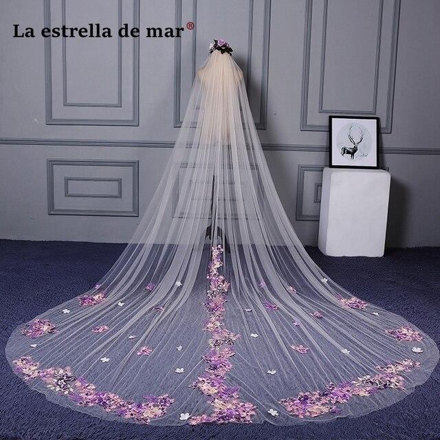 Color Veil New Wedding Lace Long Bridal 3m Moonshine Accessories Veu