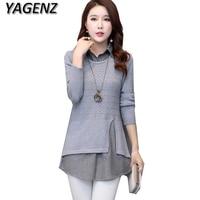 YAGENZ 2017 Women S Knit Sweater Autumn Winter Fake Two Piece Shirt Women Pullover Sweater Loose