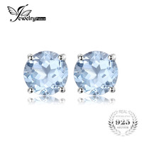 2016 New 2ct Natural Stone Sky Blue Topaz Stud Earrings For Women Genuine 925 Sterling Silver
