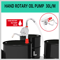 30L/M Outdoor Hand Fuel Oil Transfer Pump Auto Car Gas Water Rotary Suction Hand Pumps Crank Barrel Drum Pumping Petrol