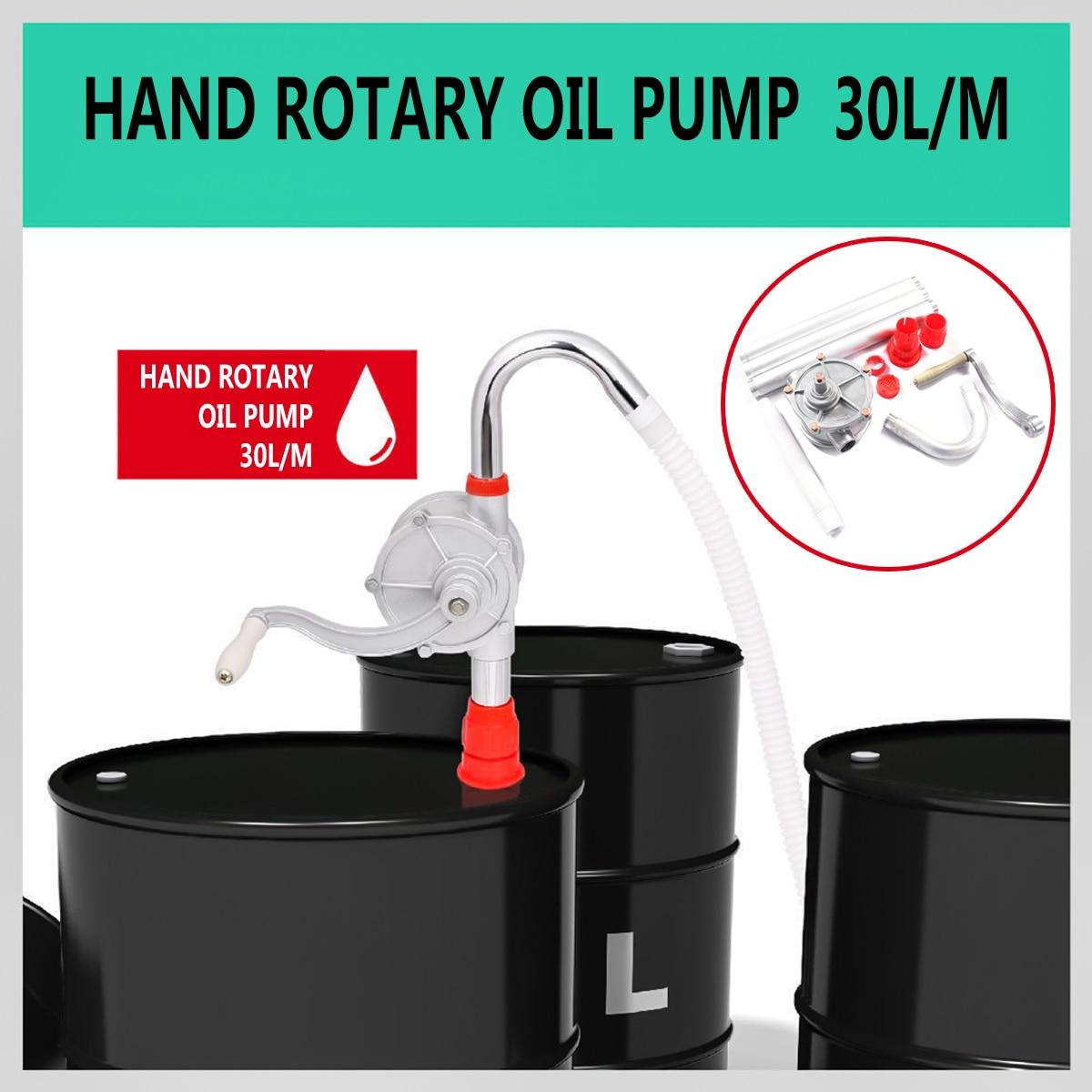 30L/M pompe de transfert de mazout à main extérieure Auto voiture gaz eau aspiration rotative pompes à main manivelle baril tambour pompage essence