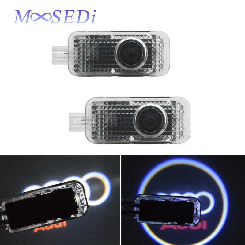 MOOSEDi Car LED Door Logo Ghost Shadow Projector Light for Audi Q7 A3 Q3 A6L A8 LED Welcome Logo Door Step Courtesy Light 2 PCS 1 pair auto brand emblem logo led lamp laser shadow car door welcome step projector shadow ghost light for audi vw chevys honda page 9