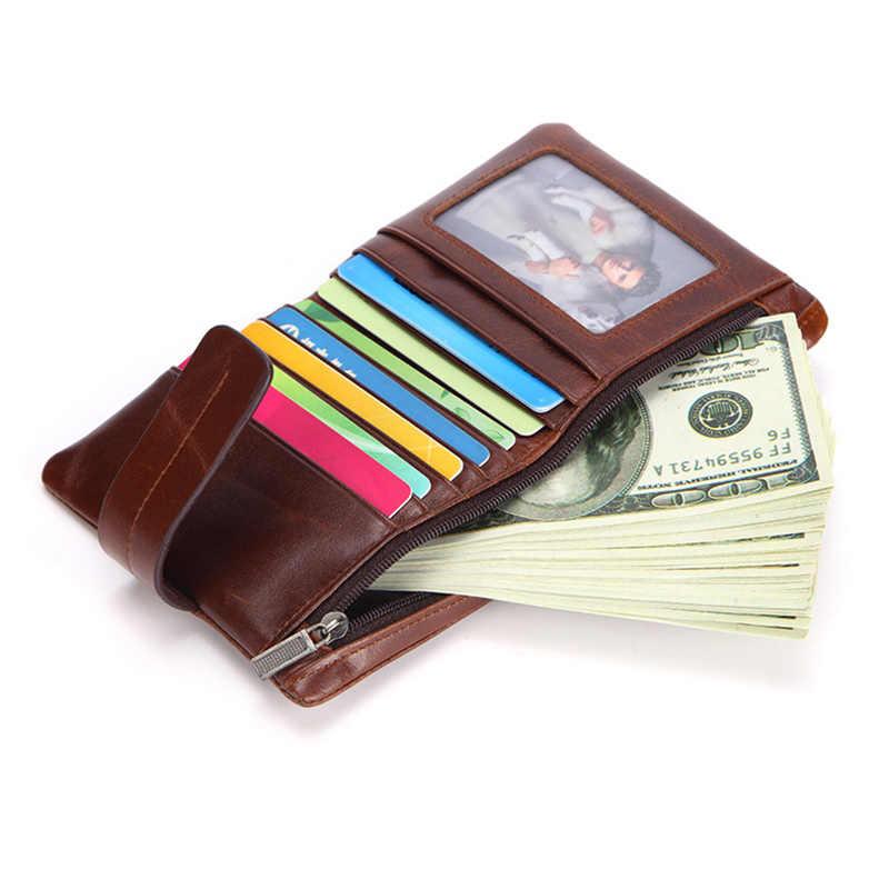 AOEO винтажные кошельки для мужчин масло воск натуральная кожа с молнией короткий кошелек для монет черный кофе маленький мини тонкий кошелек мужской