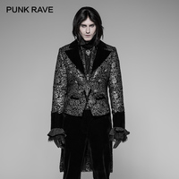 PUNK RAVE Gothic Swallow Tail Floral Palace Men's Jacket Victorian Gorgeous Fashion Irregular Style Party Coat