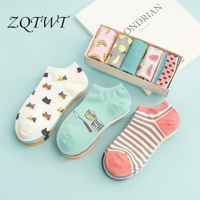 ZQTWT 5Pair/Lot High Quality Cute Cat Striped Women   Socks   Creative Casual Cotton Girls Funny Animals   Socks   for Female 2WZ043
