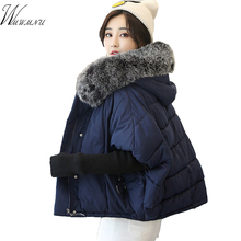 Wmwmnu 2017 Winter fashion Womens Jackets plus size Thick Warm Parka coat Spliced knitting sleeve windproof loose Overcoat