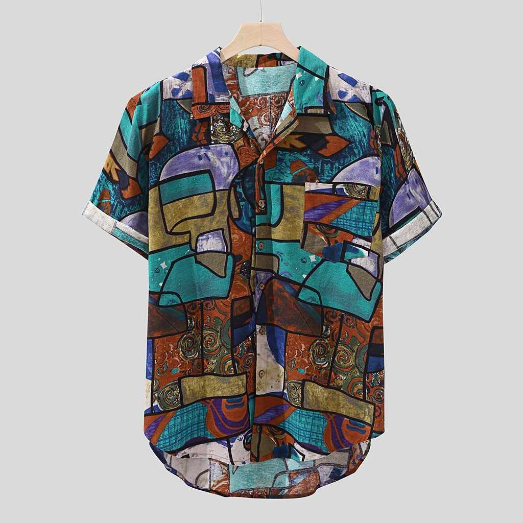 Womail 2019 新着カジュアルプリントブランドシャツ男性半袖ボタントップスファッション男性ビーチハワイシャツ M-4XL