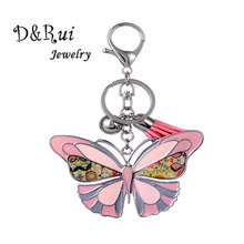 Zinc Alloy Butterfly Key Chains Enamel Gift for Women Girls Bag Charm Animal Key Chain Ring Metal Trendy Pendant Jewelry 2019 retro us dollar money bag style zinc alloy key ring bronze
