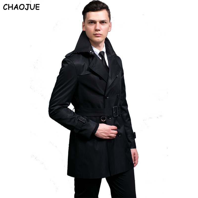 ba10da79 S 6XL Plus Size Double Breasted Black Trench Coat Men Slim Fit Beige ...