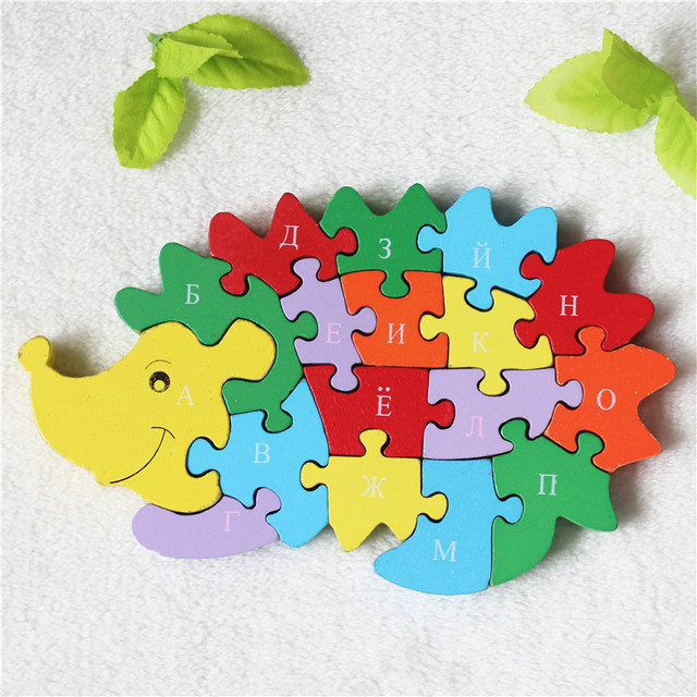 [Russian Alphabet] Colorful Wooden 26 Letters and Numbers Hedgehog Model Jigsaw Puzzle Educational Toys for Kids