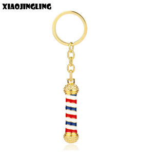XIAOJINGLING Fashion Hot Keychain Barber Wash Scissor Blow Turn Light Tool Key Chain Barber Shop Sign Key Chain Barber Jewelry