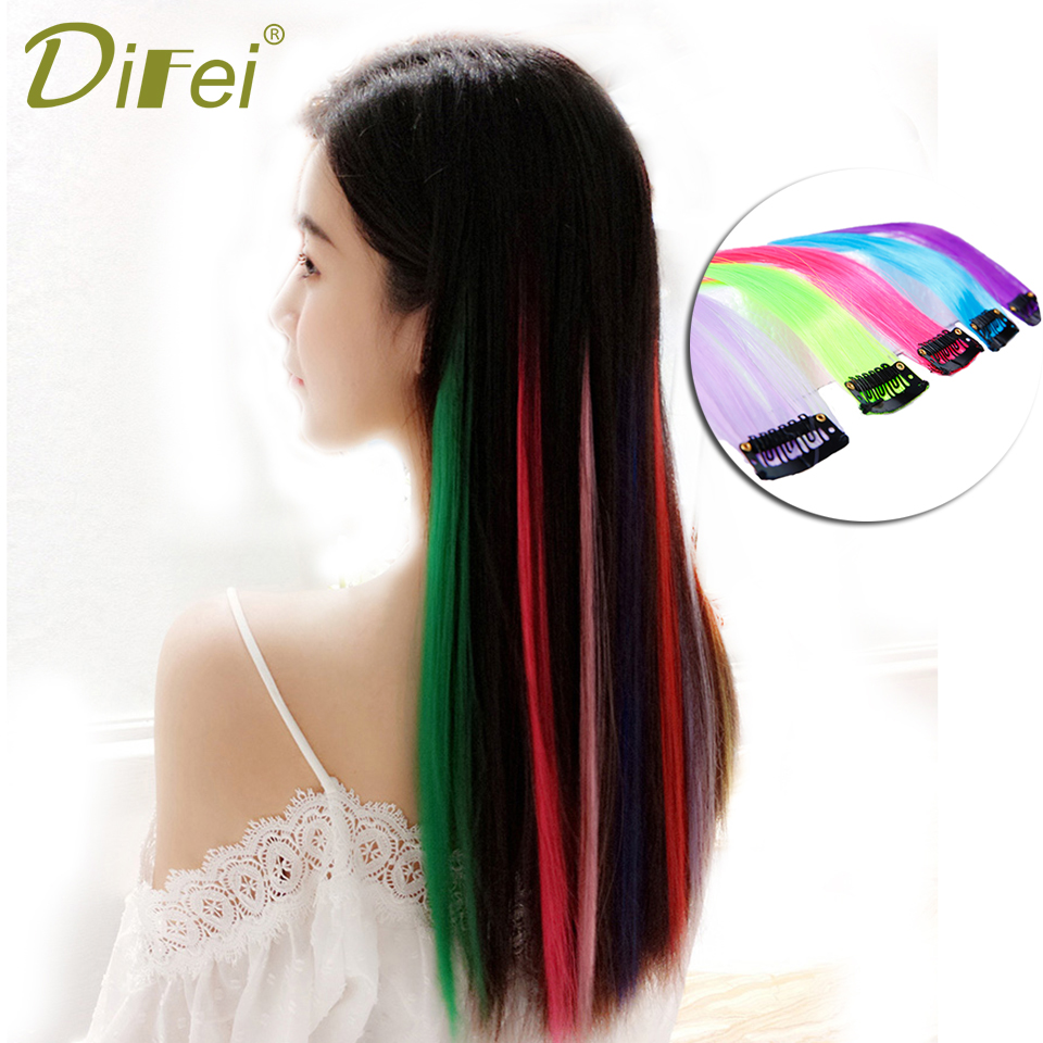 Synthetic Extensions Difei 16 Colors 55cm Single Clip In One Piece Hair Extensions Synthetic Long Straight Red Blue Purple Hair Pieces For Women Hair Extensions & Wigs