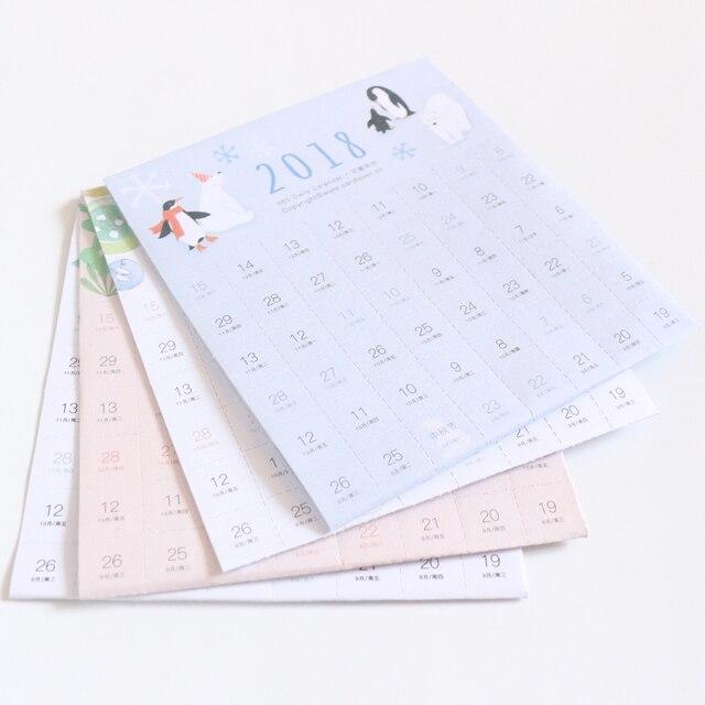 domikee new cute cartoon school sticky 2018 year calendar stationery