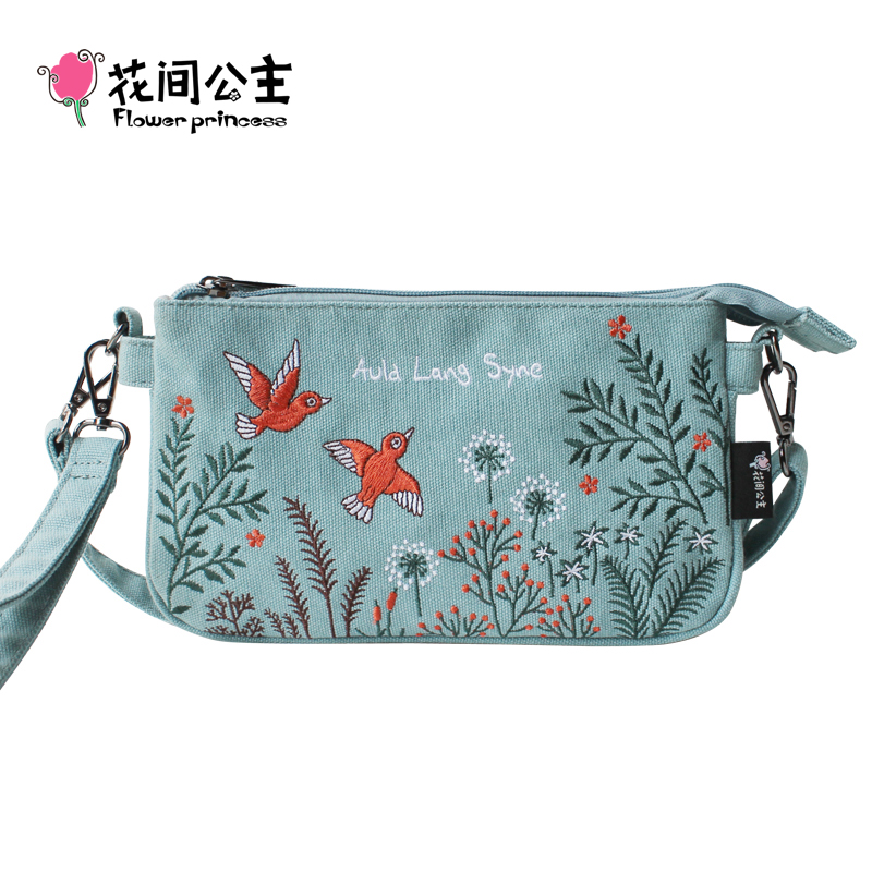 Flower Princess 2017 Summer Small Bag Women Canvas Messenger Bags Embroidery Mini Crossbody Girl Fashion Flap Hand Bag Bolsa japanese pouch small hand carry green canvas heat preservation lunch box bag for men and women shopping mama bag
