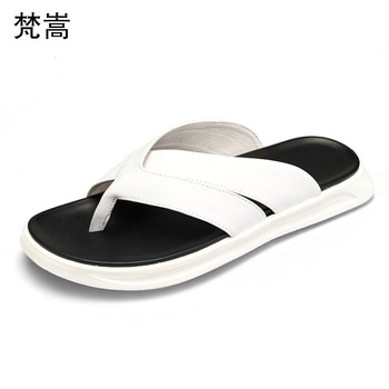 Men flip-flops and white fashion toe-clip slippers wear Korean version outdoor Genuine Leather sandals summer casual Shoes beach