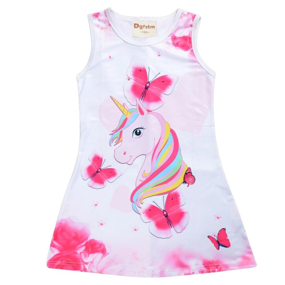 HTB14EgoXXY7gK0jSZKzq6yikpXaS 2019 Summer Girls Dress Butterfly Unicorn Print Kids Dresses Baby Girls Princess Dress Party Clothes Sleeveless Birthday Dresses