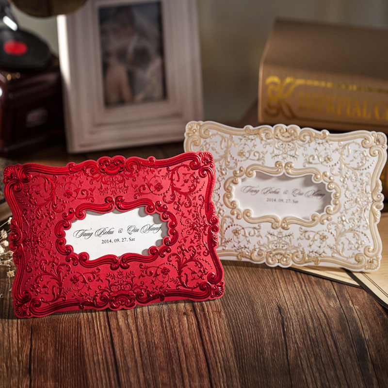 Classical Embossing Gold Foil Design Wedding Invitation Cards ,Customizable,Printable,Red And Gold, 50 Pcs/lot In Cards U0026 Invitations  From Home U0026 Garden On ...