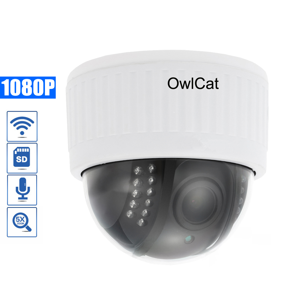 OwlCat Indoor HD 1080P PTZ IP Camera WIF Dome Wireless Security CCTV Camera 5X Zoom Audio/Microphone SD Slot IR Night Onvif P2POwlCat Indoor HD 1080P PTZ IP Camera WIF Dome Wireless Security CCTV Camera 5X Zoom Audio/Microphone SD Slot IR Night Onvif P2P