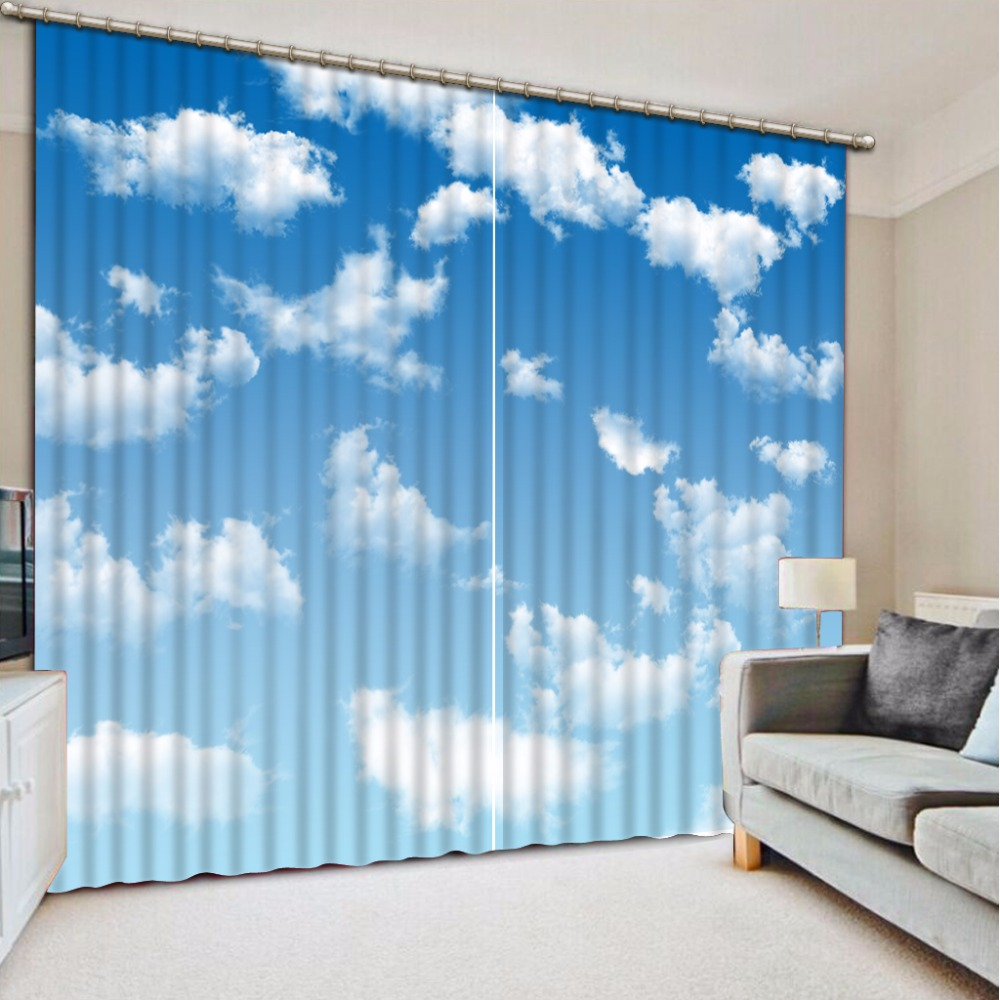 Custom Any Size Blackout Shade Window Curtains Blue Sky And White Clouds Curtain Decoration Window Curtain Living Room