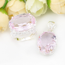 Фотография African Jewelry Set Hot Sell Precious Pink Topaz Crystal Earing And Pendant Free Shipping+Tracking Number Z0037